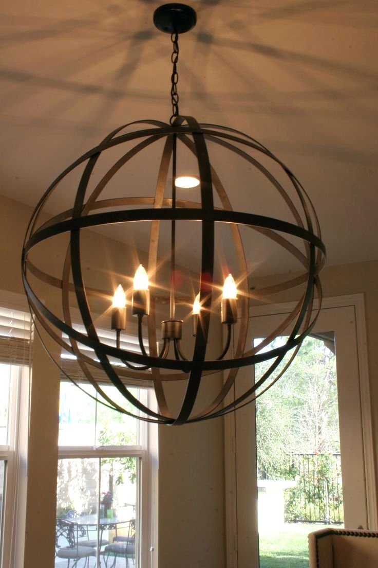 Metal Ball Chandeliers With Most Recent Round Ball Shaped Metal And Wood Chandelier W Pendant Light In (View 12 of 20)