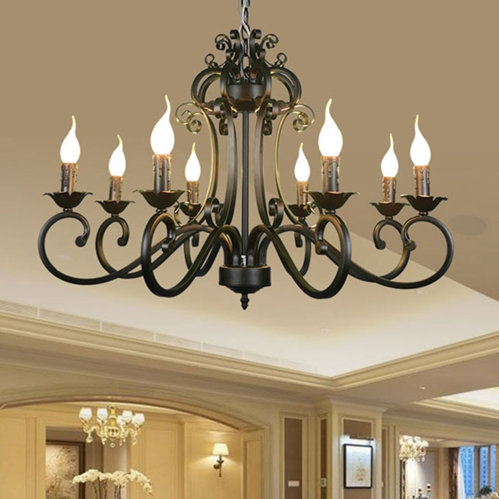 Metal Chandeliers Intended For Recent Ac110v 220v Home Ceiling Chandeliers Metal Iron Light Chandelier (View 9 of 20)