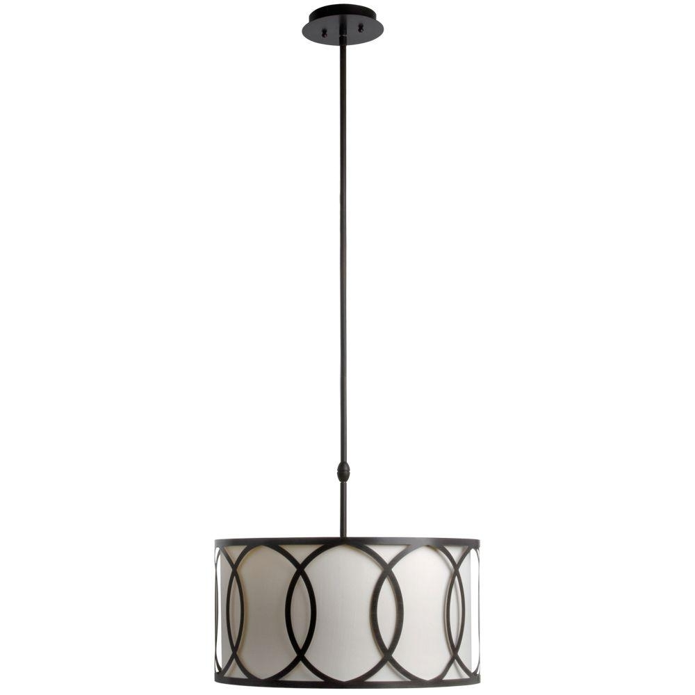 Metal Drum Chandeliers Throughout Well Liked Hampton Bay Davenport 3 Light Oil Rubbed Bronze Pendant With White (View 14 of 20)