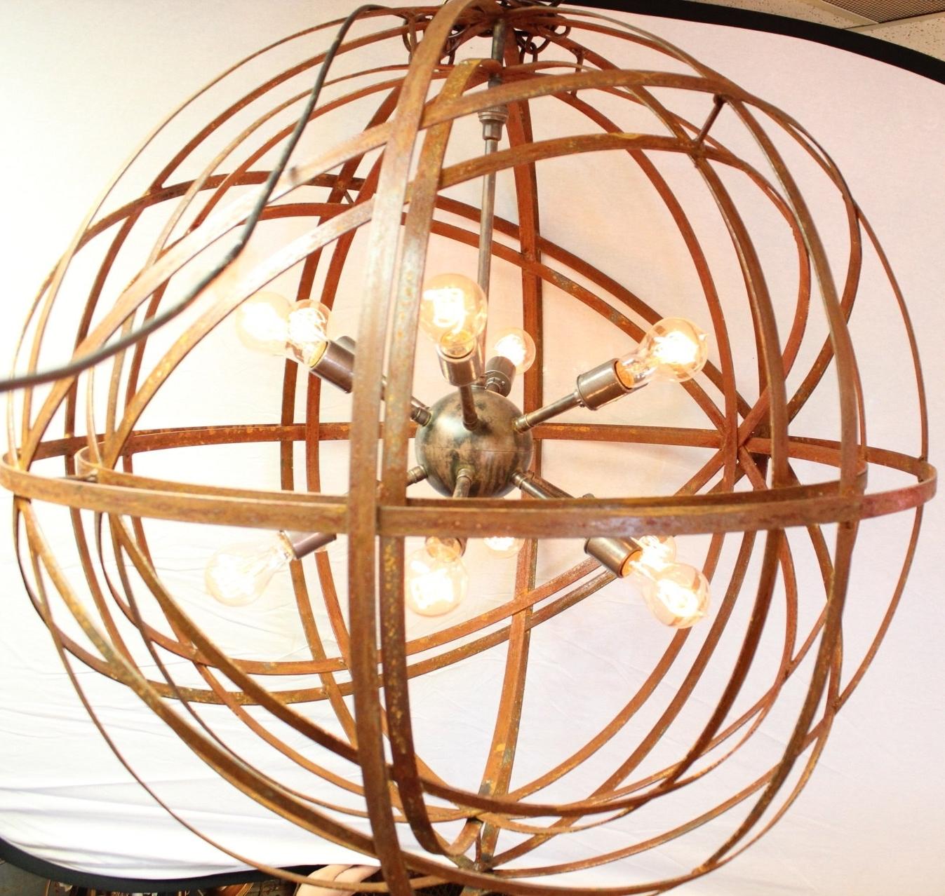 Metal Sphere Chandelier In Preferred Orb Chandelier Industrial Sphere Inside Sphere Sputnik 30 Metal (View 3 of 20)