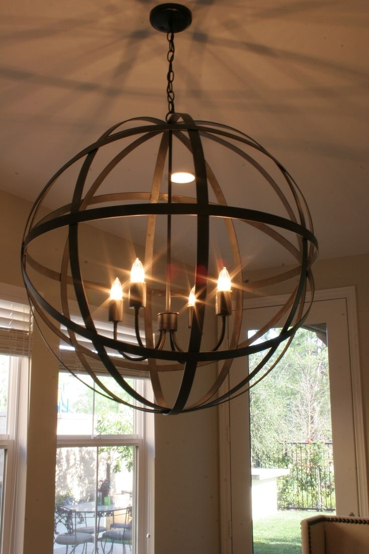 Metal Sphere Chandelier Intended For Fashionable Lighting: Interesting Orb Metal Sphere Chandelier For Living Room (View 4 of 20)