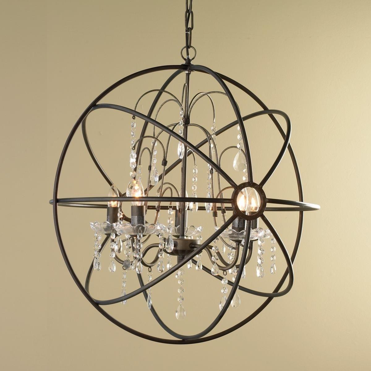 Metal Sphere Chandelier Regarding Famous Crystal And Metal Orb Chandelier (View 5 of 20)