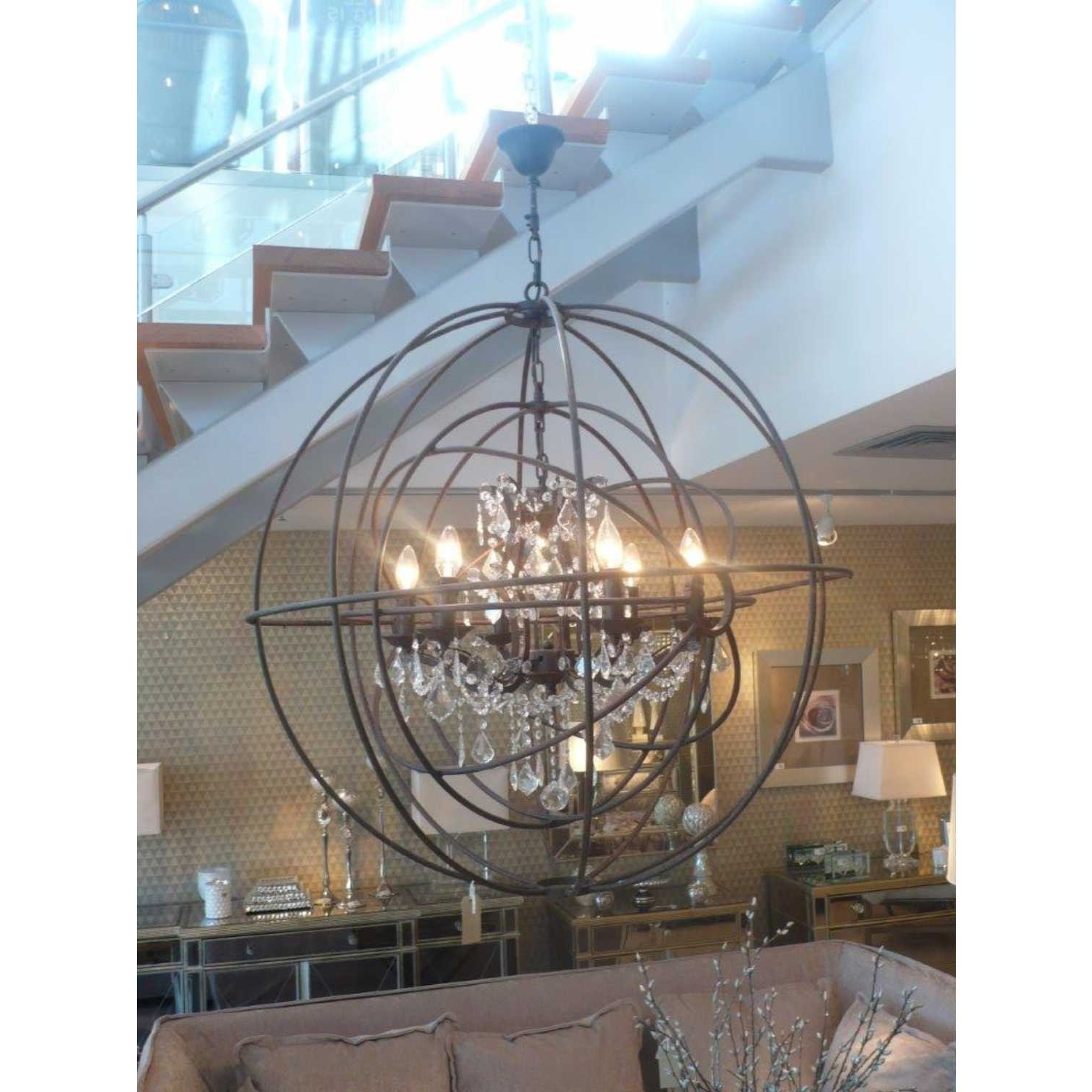 Metal Sphere Chandelier Round Ceiling Light With Glass Crystals Pertaining To Recent Metal Sphere Chandelier (View 2 of 20)