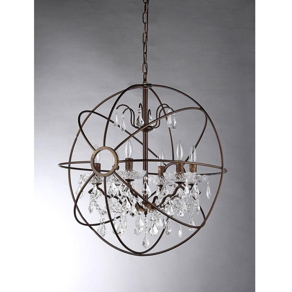 Metal Sphere Chandelier With Well Known Warehouse Of Tiffany Edwards 6 Light Antique Bronze Sphere Crystal (View 9 of 20)