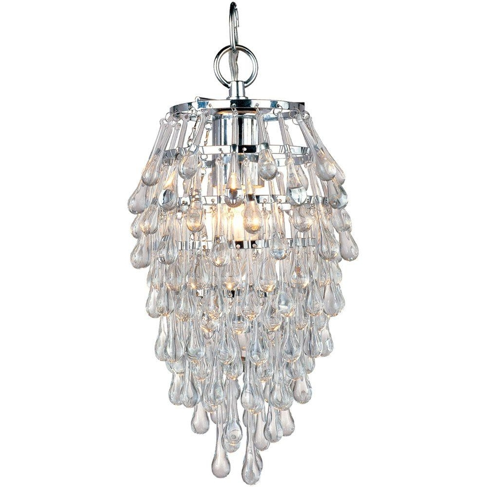 Mini Crystal Chandeliers Within Trendy Af Lighting Crystal Teardrop 1 Light Chrome Mini Chandelier With (View 12 of 20)