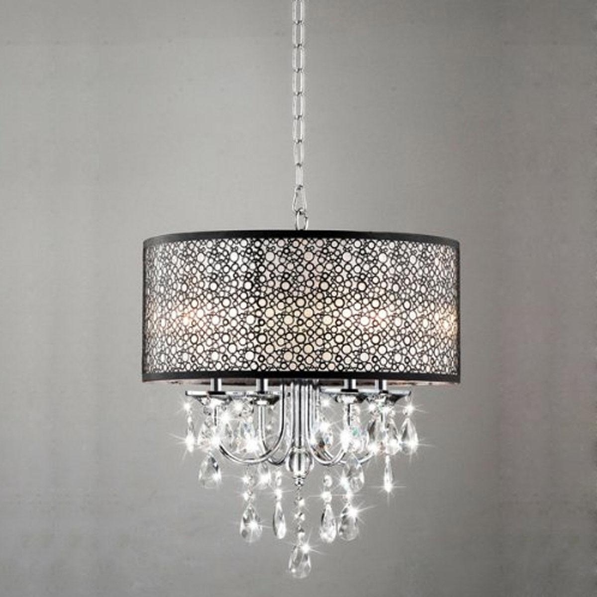 Modern 4 Light Crystal Chandelier Pendant Lamp Ceiling Fixture Home For Most Recently Released 4 Light Crystal Chandeliers (View 9 of 20)