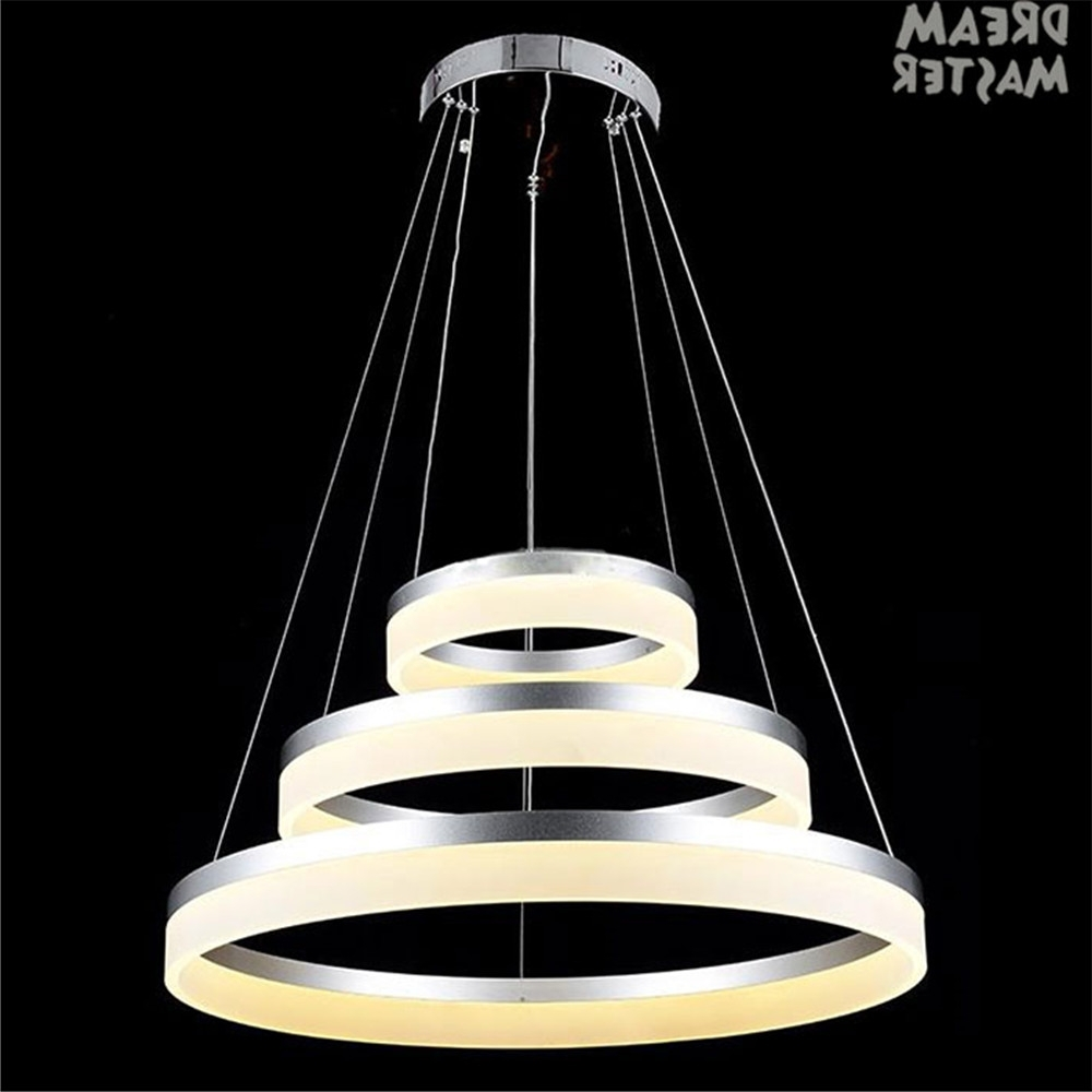 Modern Acrylic Led Chandelier Lamp 3 Rings Hanging Lights For Indoor In Trendy Modern Led Chandelier (View 7 of 20)