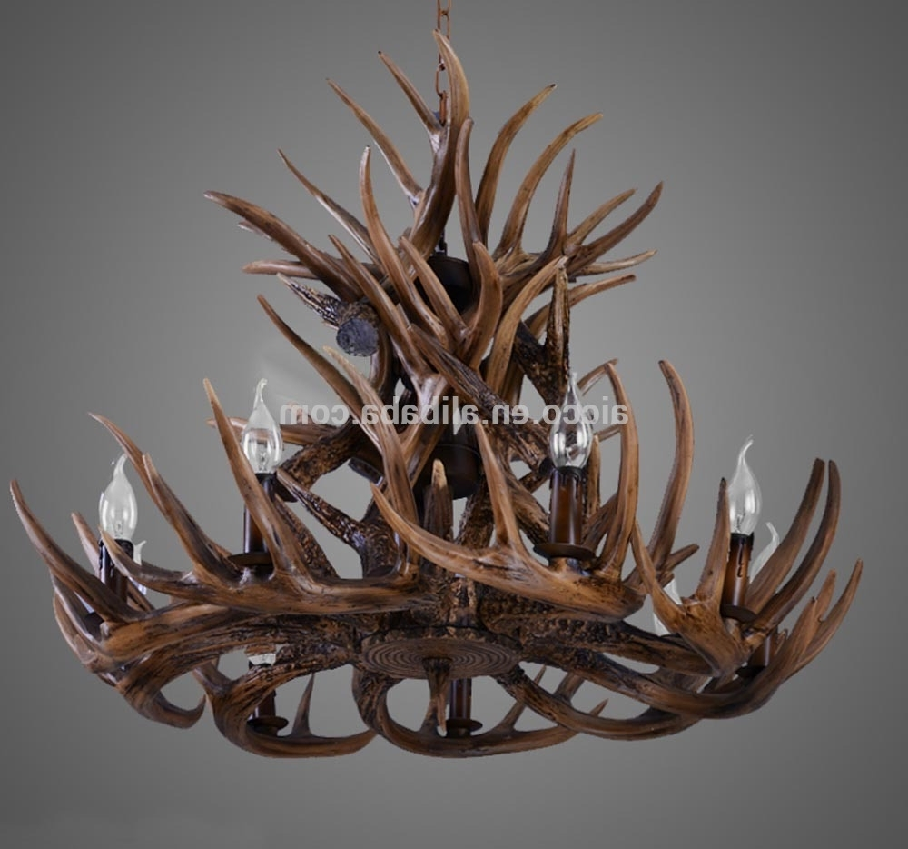 Modern Antler Chandelier Pertaining To Well Liked Antler Chandelier Antique Decorative Pendant Light Deer Antler (View 8 of 20)
