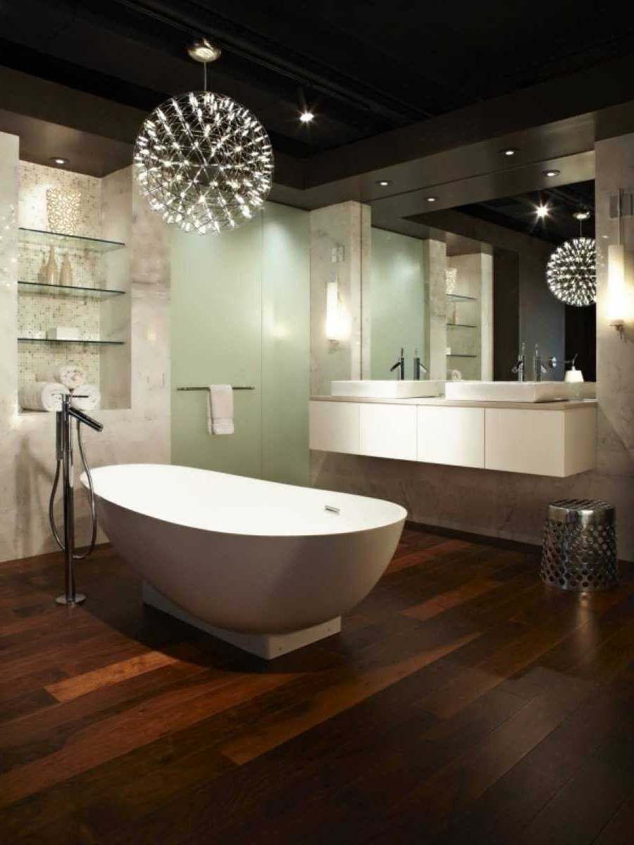 Modern Bathroom Light Fixtures With Chandelier Wall Lights Trends Within Most Popular Modern Bathroom Chandeliers (View 14 of 20)