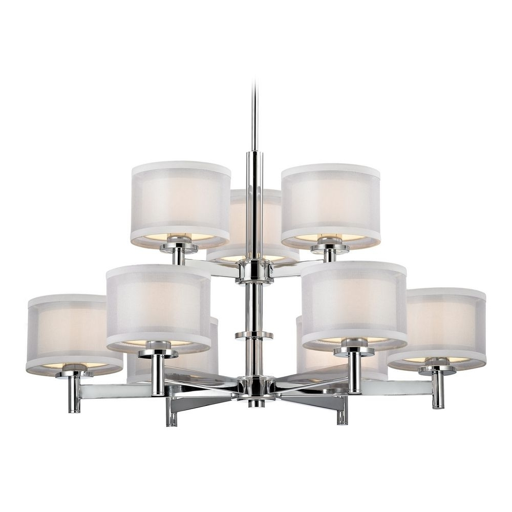 Modern Chrome Chandelier Within Well Known Chandelier With White Shades In Chrome Finish (View 7 of 20)