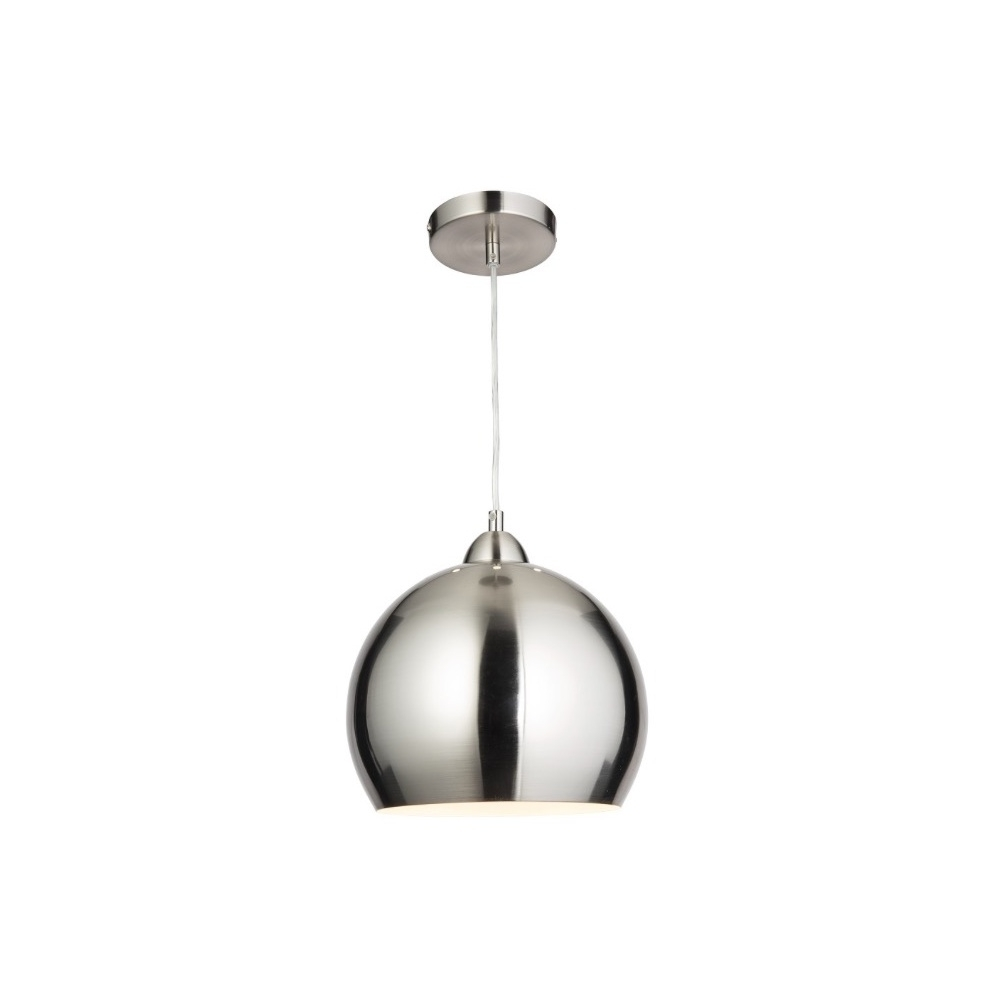 Modern Chrome Chandeliers For Most Popular Thlc Modern Globe Cafe Pendant Light In Satin Chrome – Lighting From (View 10 of 20)