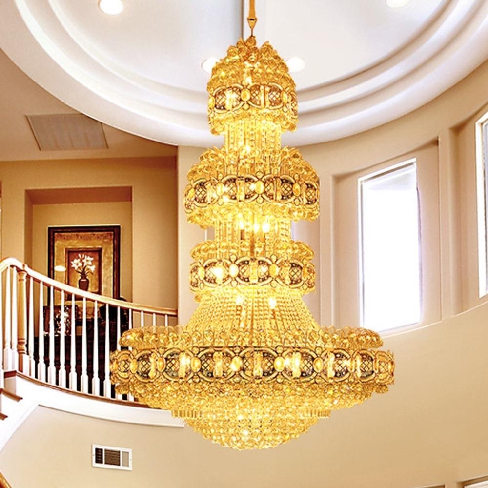 Modern Crystal Chandelier Lighting Fixture Gold Crystal Chandeliers In Well Known Hotel Chandelier (View 11 of 20)