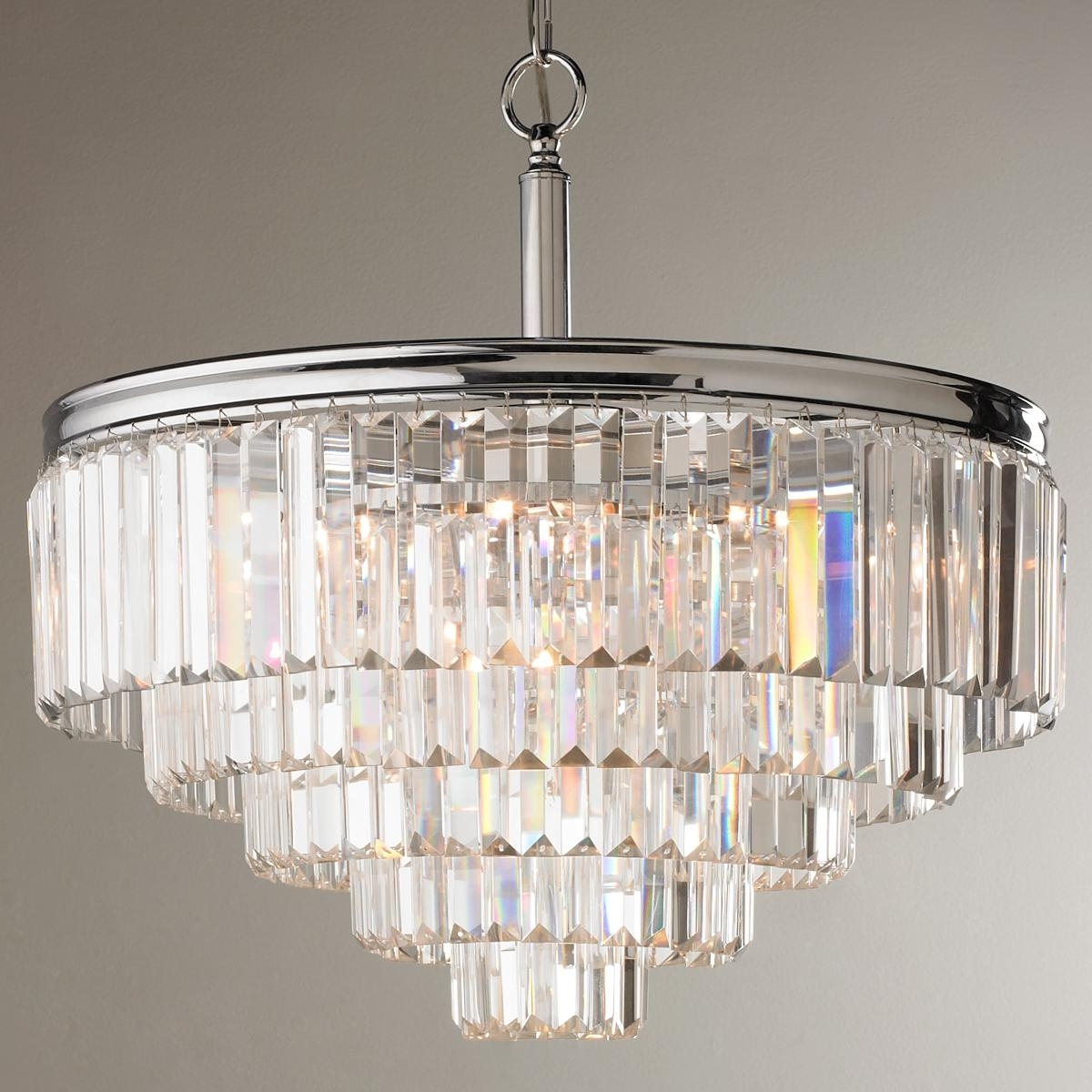 Modern Faceted Glass Layered Chandelier – Convertible (View 6 of 20)