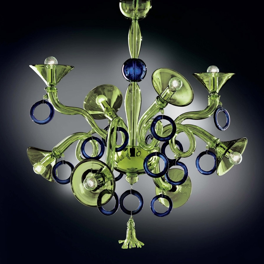 Modern Glass Chandeliers For Preferred Green And Blue Modern Murano Glass Chandelier Dml503K8Gb – Murano (View 11 of 20)