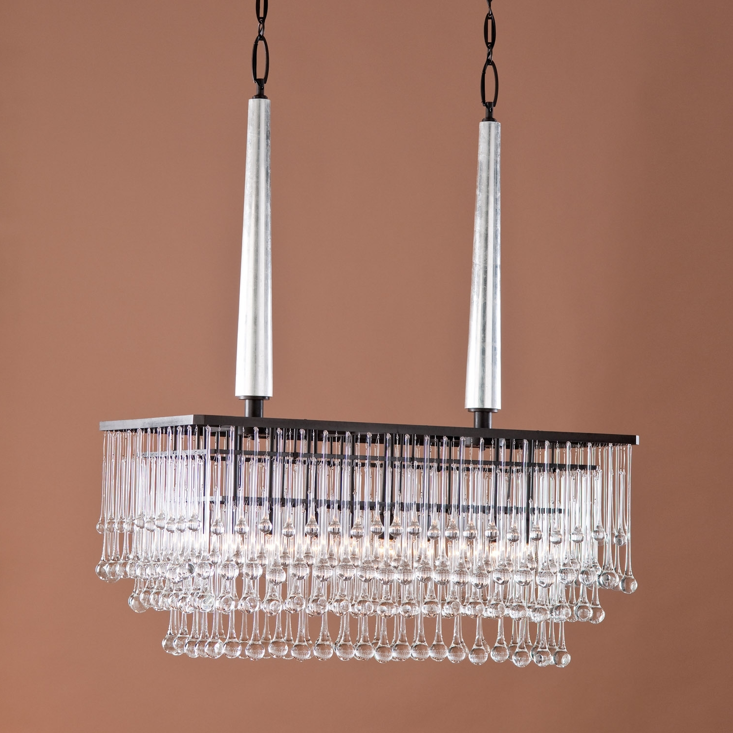 Modern Hanging Rectangular Chandelier With Bronze Frame And Hanging In Well Known Bronze Modern Chandelier (View 19 of 20)
