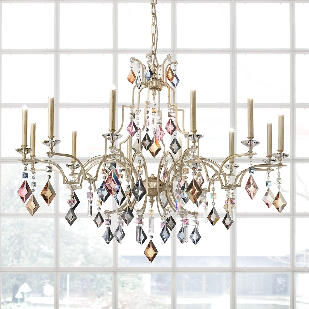 Modern Ivory Multi Coloured Crystal Chandelier (View 13 of 20)