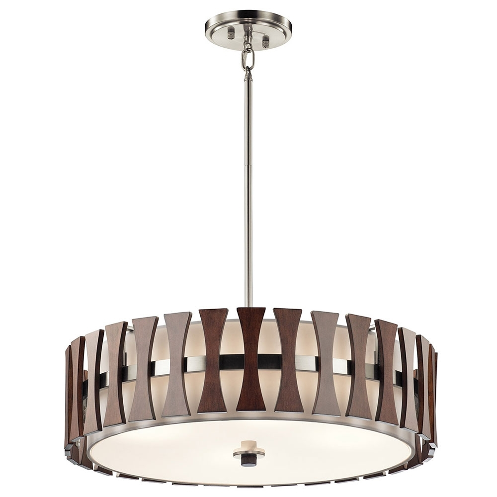 Modern Pendant Chandelier Lighting With Trendy Kichler 43753Aub Cirus Modern Auburn Stained Drum Pendant Lighting (View 12 of 20)