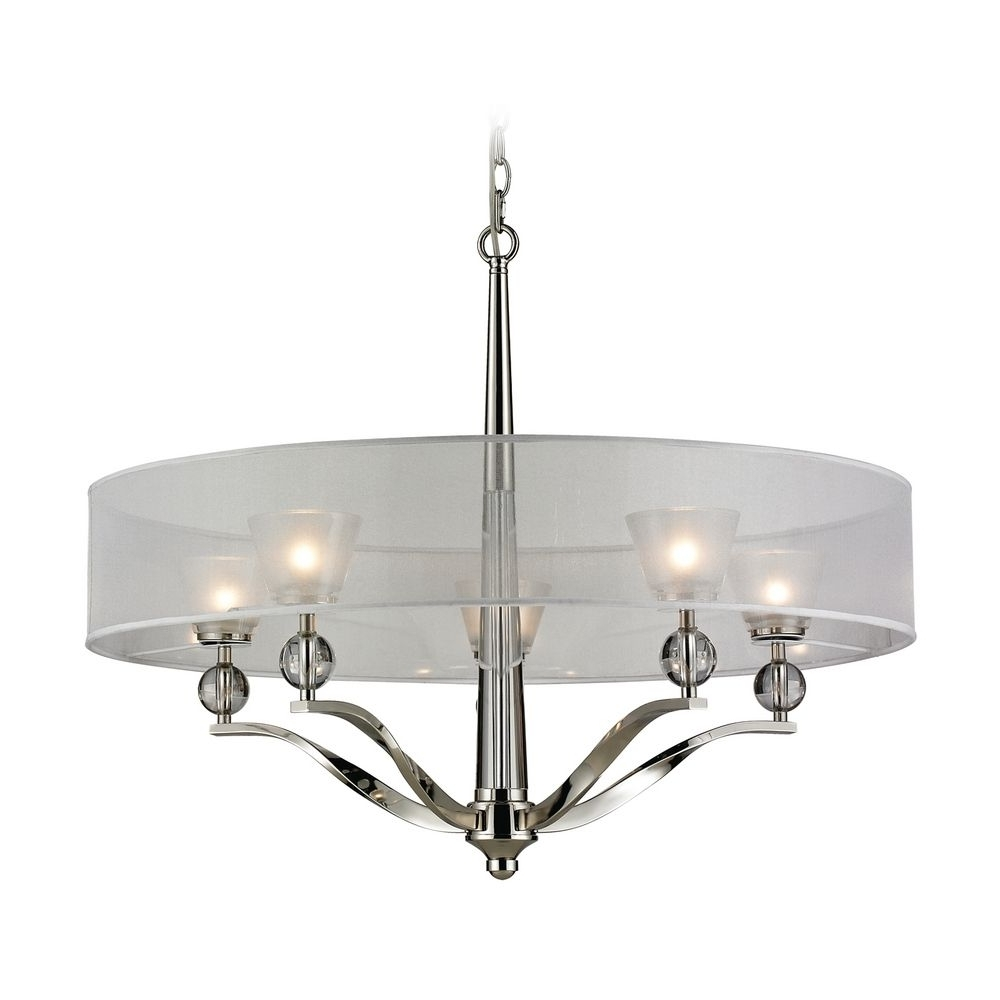 Modern Silver Chandelier Regarding Preferred Modern Chandelier With Silver Shade In Polished Nickel Finish (View 2 of 20)