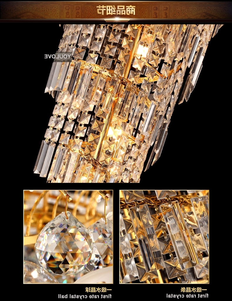 Modern Spiral Gold Crystal Chandeliers Light Fixture American Long Intended For Newest Long Chandelier Lights (View 12 of 20)