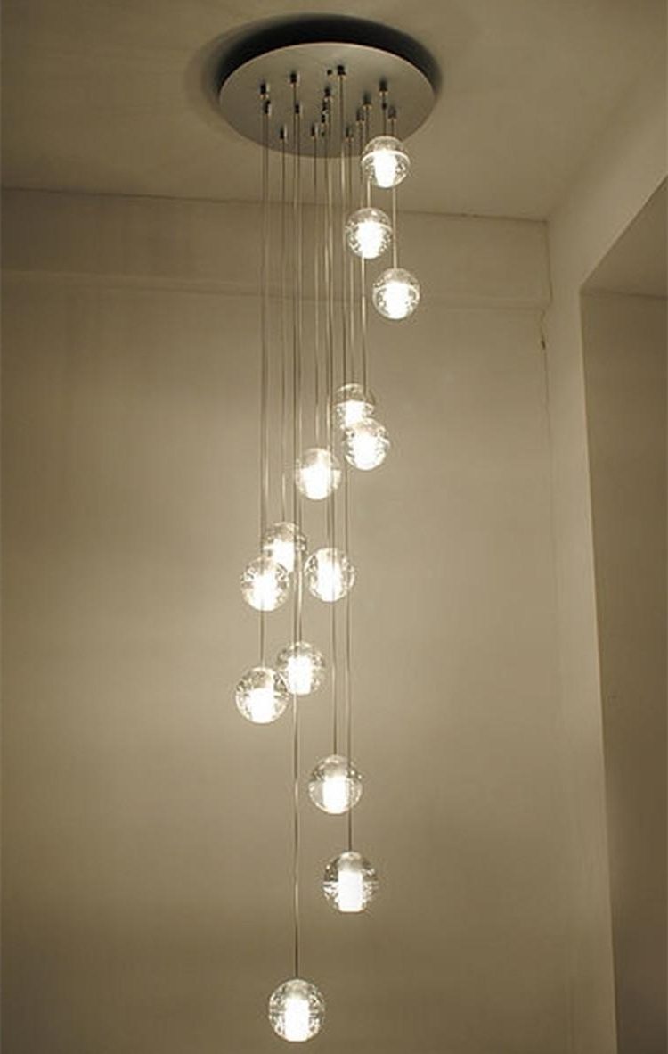 Modern Stairwell Led Chandelier Lighting Large Bubble Crystal Ball With Most Up To Date Long Chandelier Lighting (View 7 of 20)