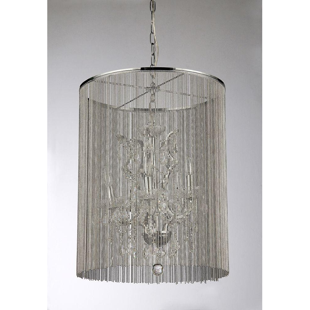 Modern White Chandelier For Favorite Warehouse Of Tiffany Rosalias Modern Cage 6 Light Chrome Chandelier (View 9 of 20)