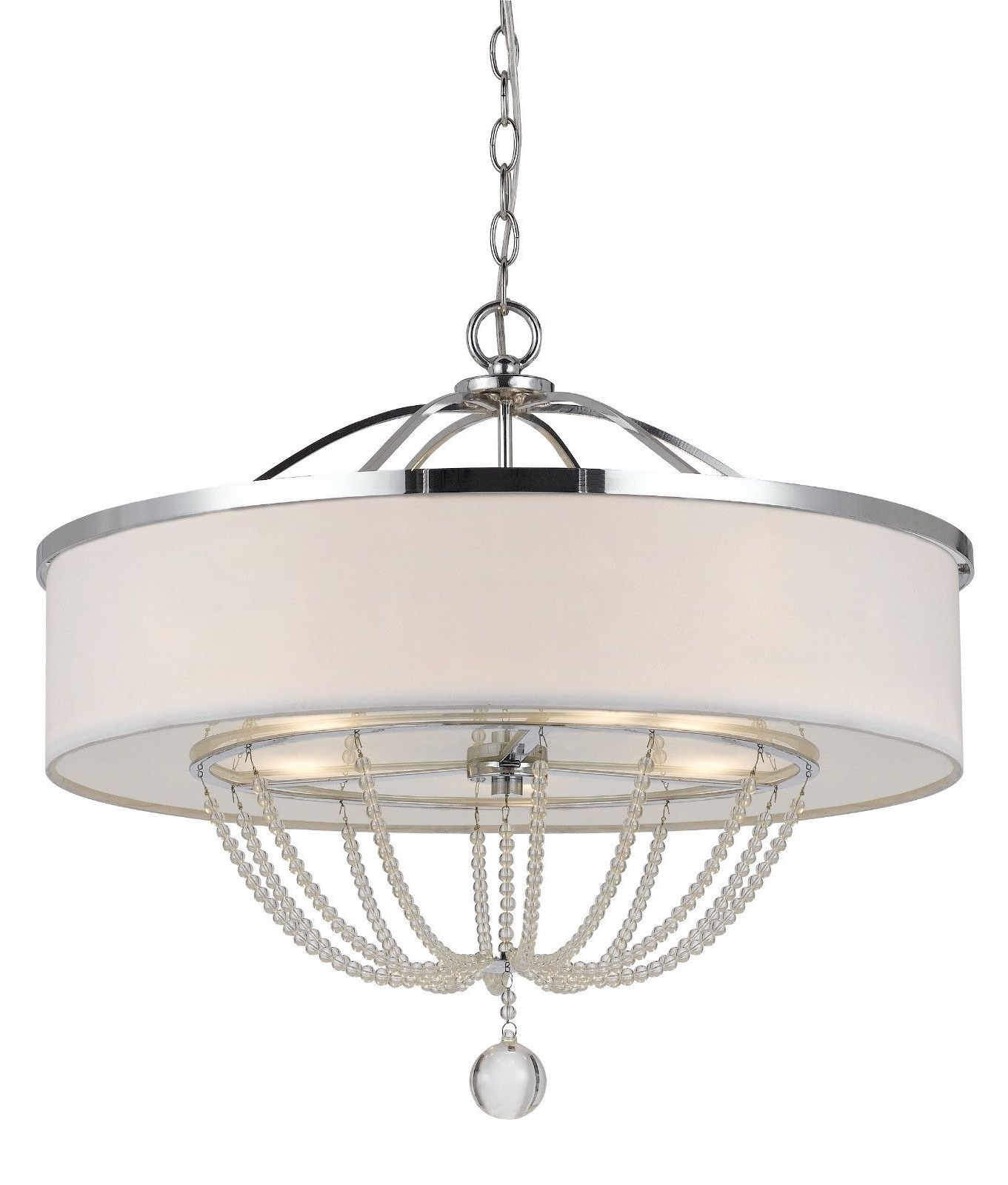 Modern White Fabric With Chrome Metal & Crystals Drum Pendant Light Throughout Well Liked Modern Chrome Chandeliers (View 13 of 20)