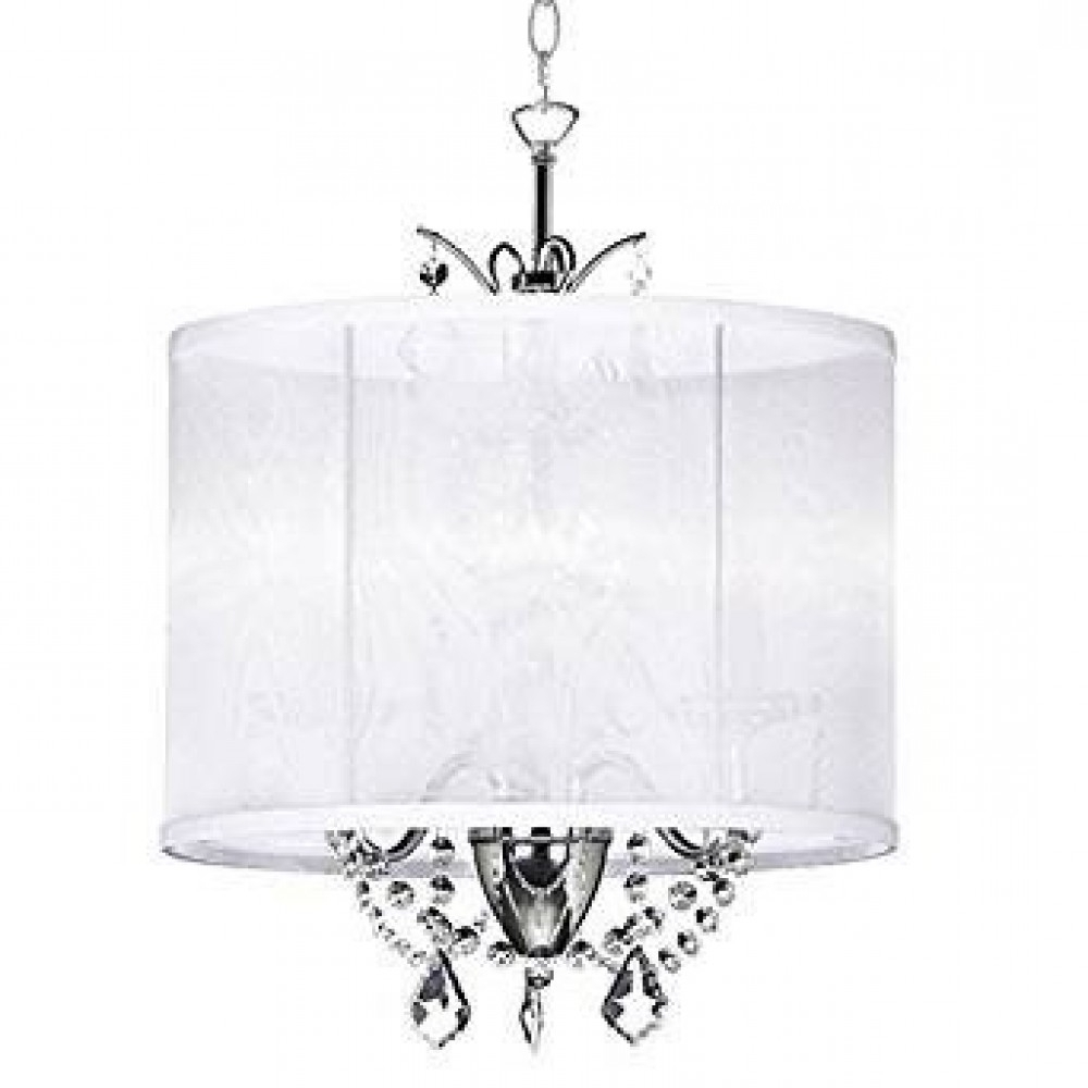Most Current 14 Inch White 3 Light Mini Crystal Chandelier White Silk Regarding 3 Light Crystal Chandeliers (View 15 of 20)