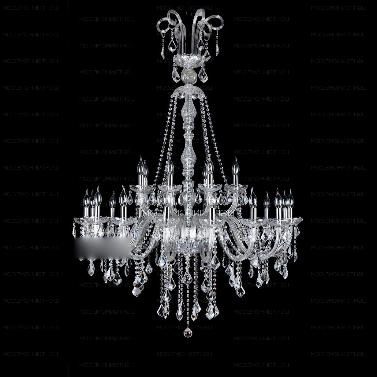 Most Current 3 Tier Crystal Chandelier Within 24 Light Two Tiered Crystal Foyer Chandeliers (View 12 of 20)