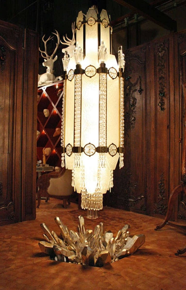 Most Current 4 Important French Art Deco Glass And Bronze Ballroom Chandeliers Throughout Ballroom Chandeliers (View 5 of 20)