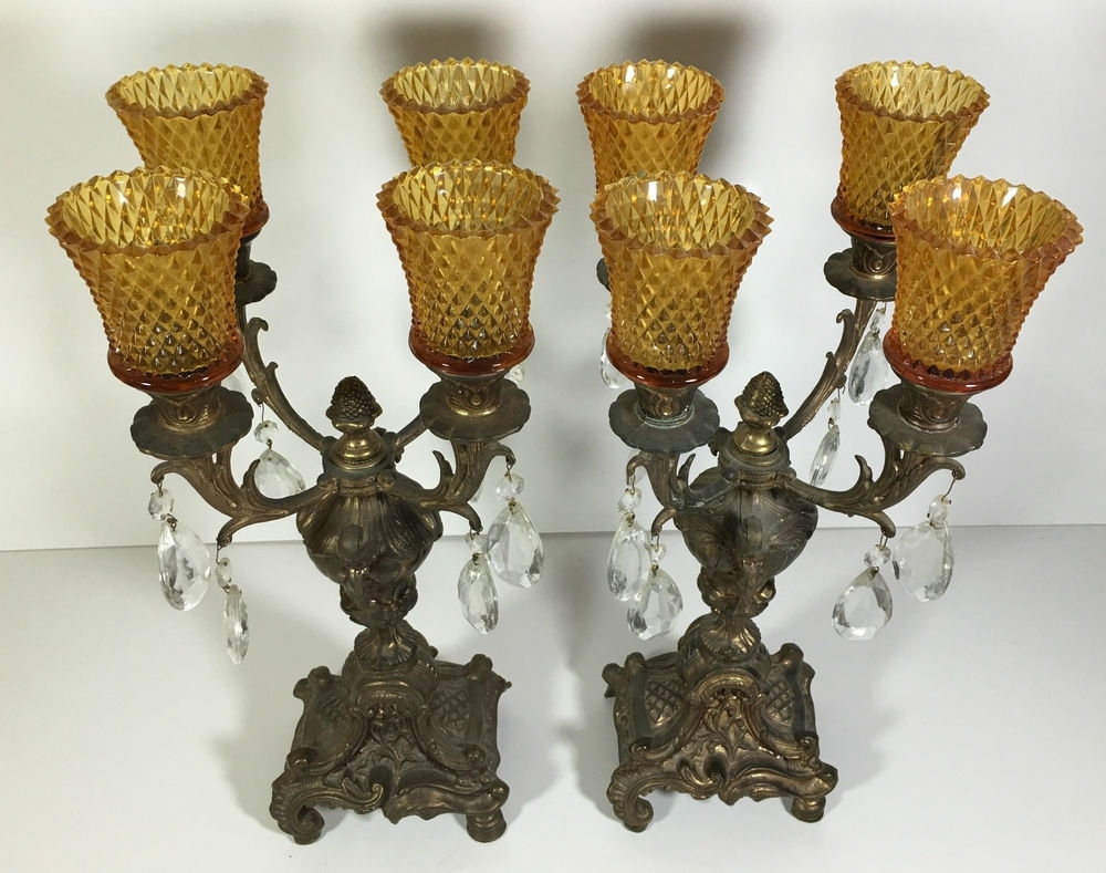 Most Current Antique Brass Candlestick Holders Candelabra Set Of 2 Ornate 4 Arm Inside Ornate Chandeliers (View 7 of 20)