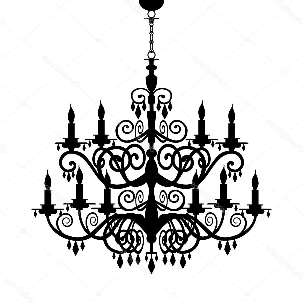 Most Current Baroque Chandelier In Baroque Chandelier Silhouette — Stock Vector © Elakwasniewski # (View 13 of 20)