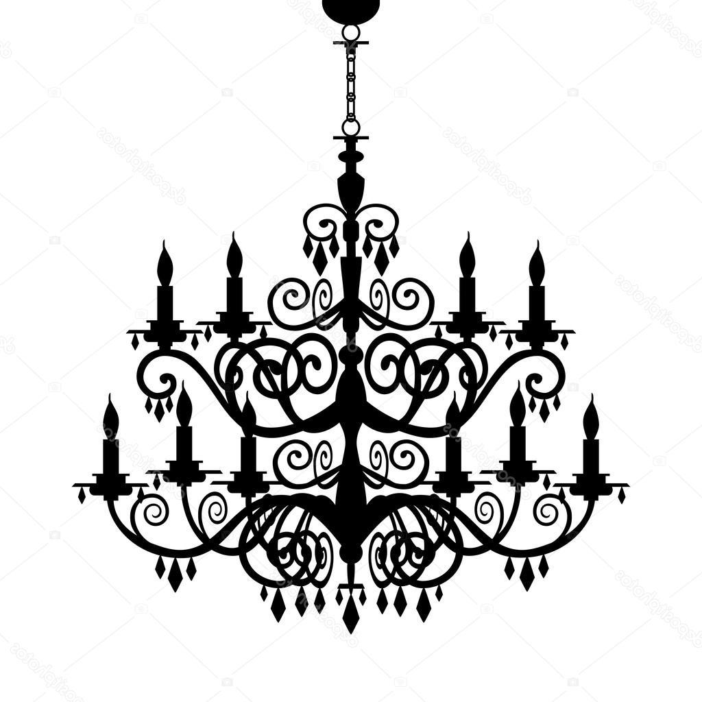 Most Current Baroque Chandelier In Baroque Chandelier Silhouette — Stock Vector © Elakwasniewski # (View 16 of 20)