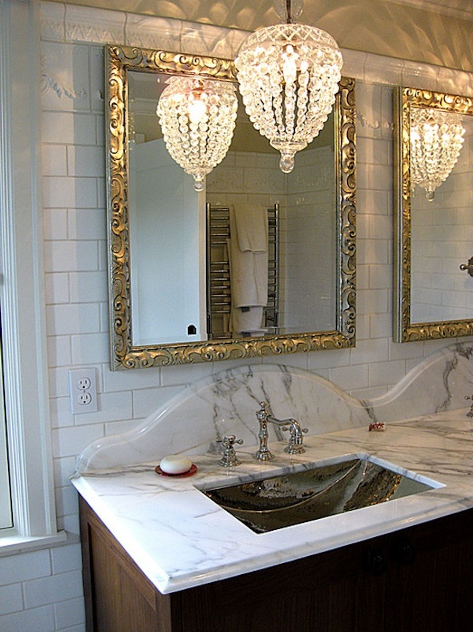 Most Current Bathroom: Bathroom Chandeliers Crystals Over Tub In A Rustic Throughout Bathroom Chandeliers (View 12 of 20)