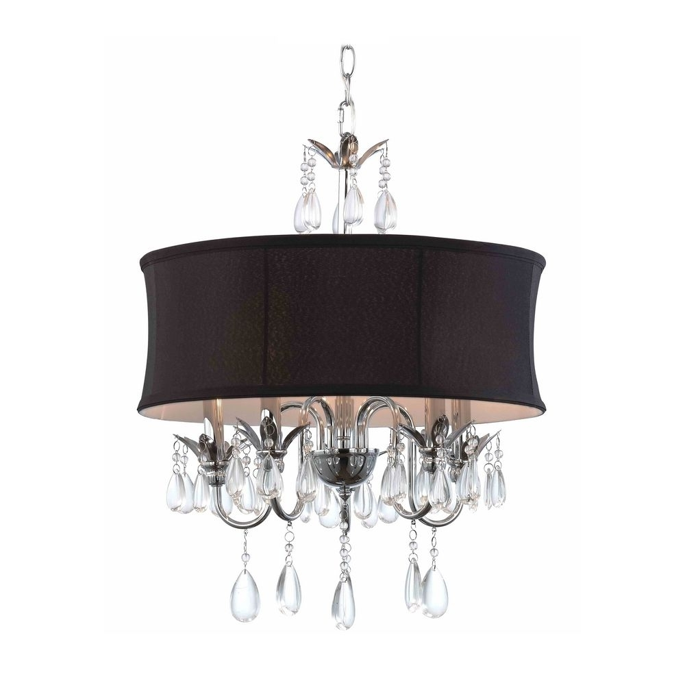 Most Current Black Drum Shade Crystal Chandelier Pendant Light (View 17 of 20)
