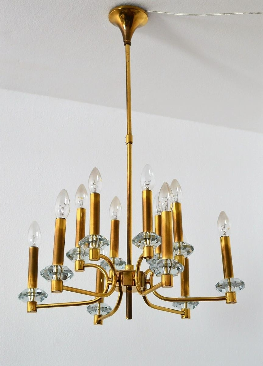 Most Current Brass And Glass Chandelier With Regard To Vintage Brass And Glass Chandelier With 12 Lights From Palwa, 1960S (View 13 of 20)