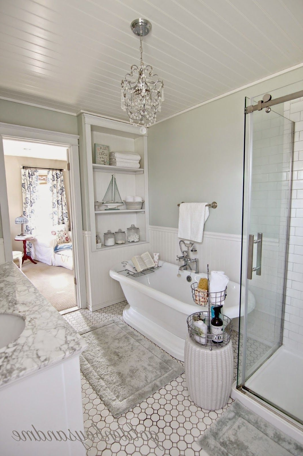 Most Current Chandeliers For The Bathroom In Revisiting The Master Bathroom & Our 2 Year Blogiversary (View 16 of 20)