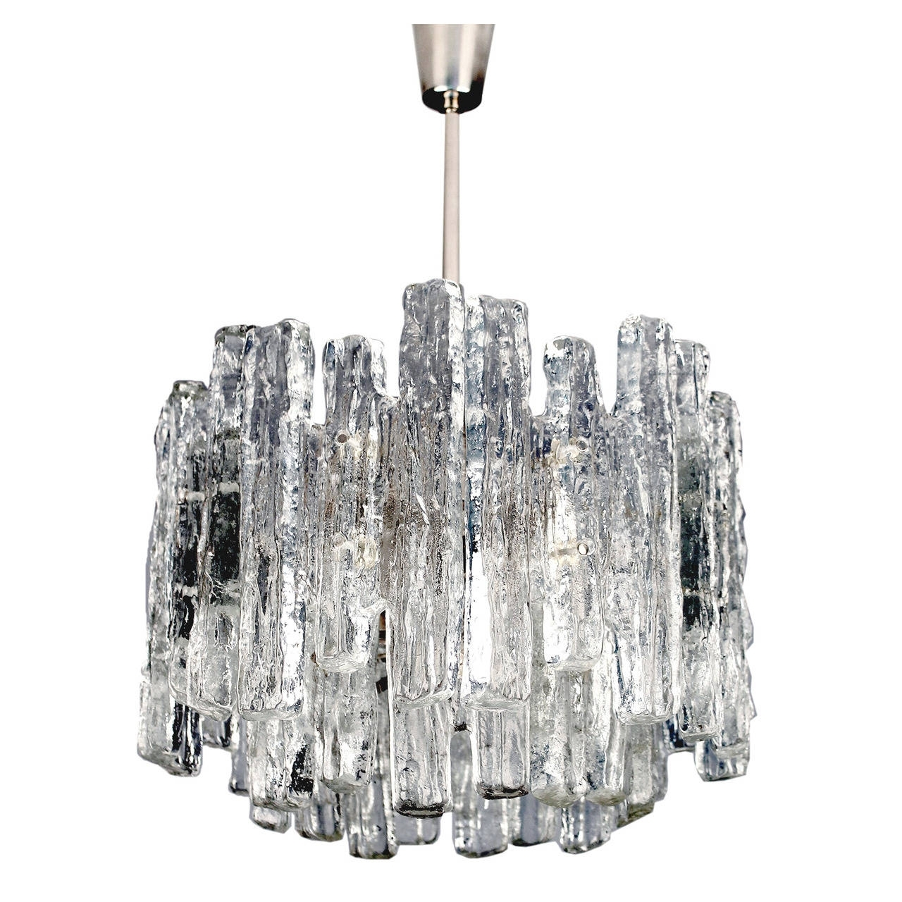 Most Current Chrome And Glass Chandelier Within Kalmar Austrian Murano Glass Chandelier Modernist Chrome Ceiling (View 8 of 20)