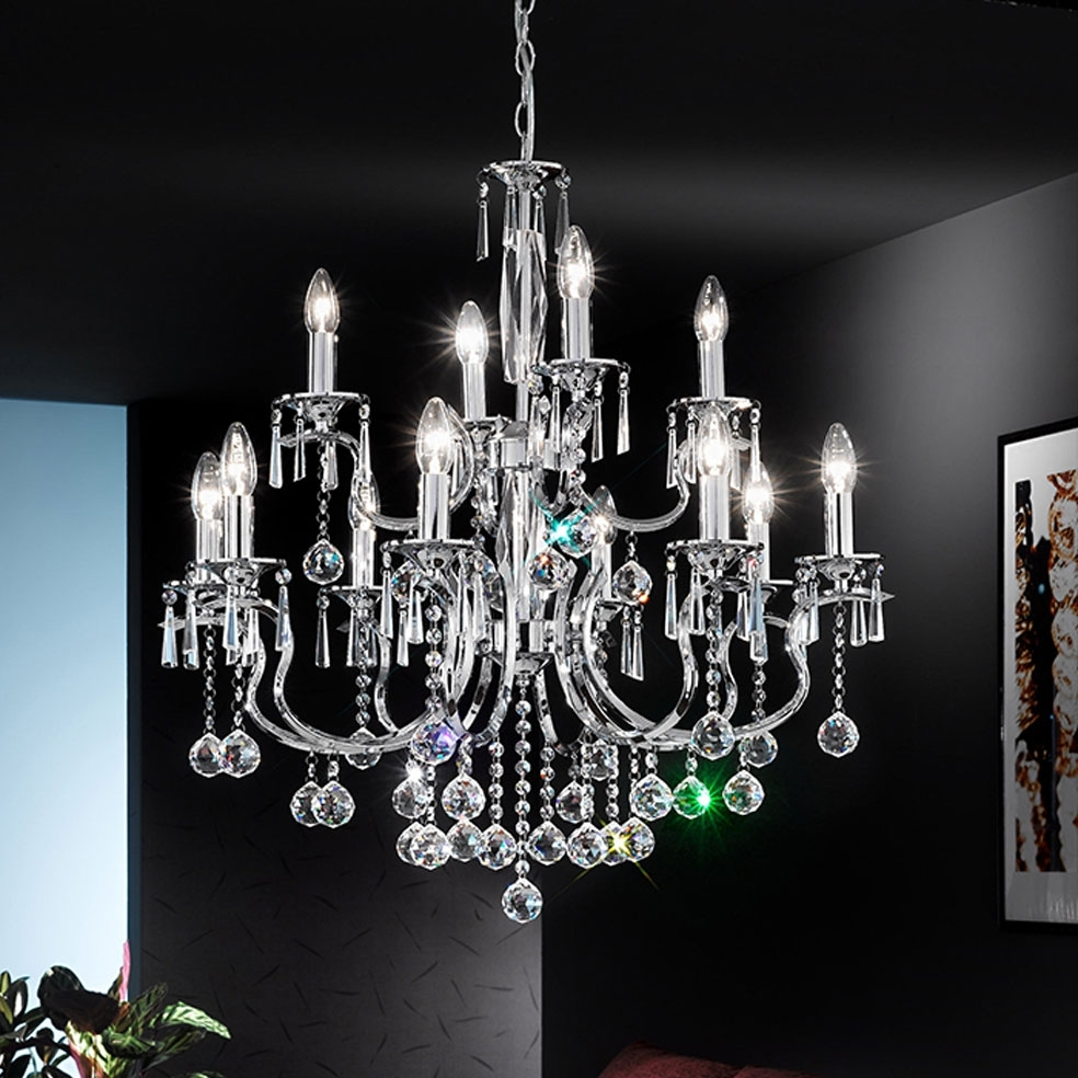 Most Current Crystal And Chrome Chandeliers Pertaining To Modern Chrome Crystal Chandelier : How To Clean Chrome Crystal (View 11 of 20)