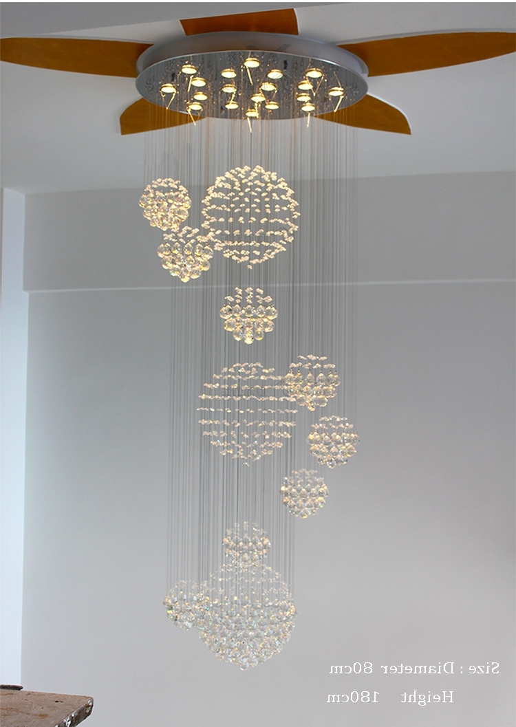 Most Current Duplex Building Stair Crystal Chandelier Villa Foyer Shopping Mall Throughout Modern Large Chandeliers (View 18 of 20)
