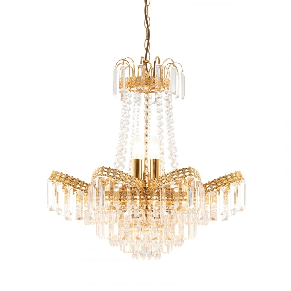 Most Current Endon Lighting Chandeliers For Endon Adagio Gold Chandelier Light At Lovelights.co (View 13 of 20)