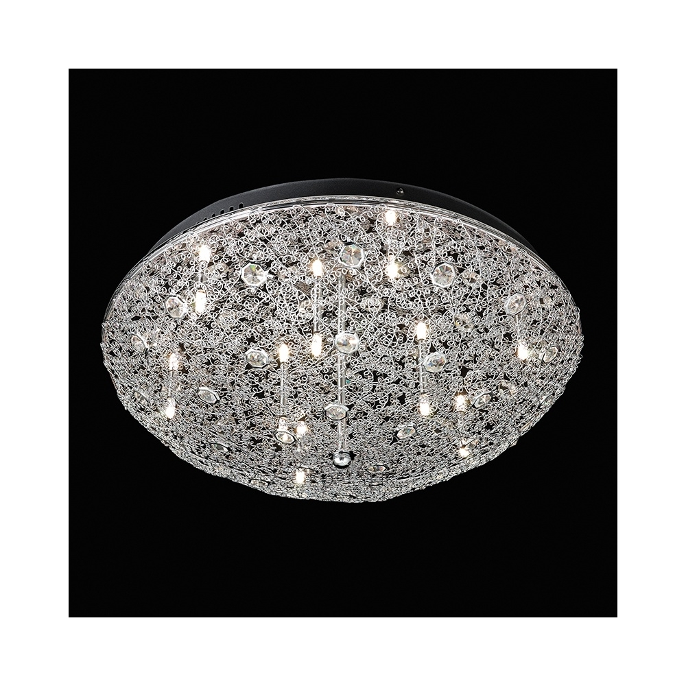 Most Current Flush Chandelier Ceiling Lights Pertaining To Endon Echo 9ch Echo Chrome And Crystal Flush Ceiling Light (View 3 of 20)