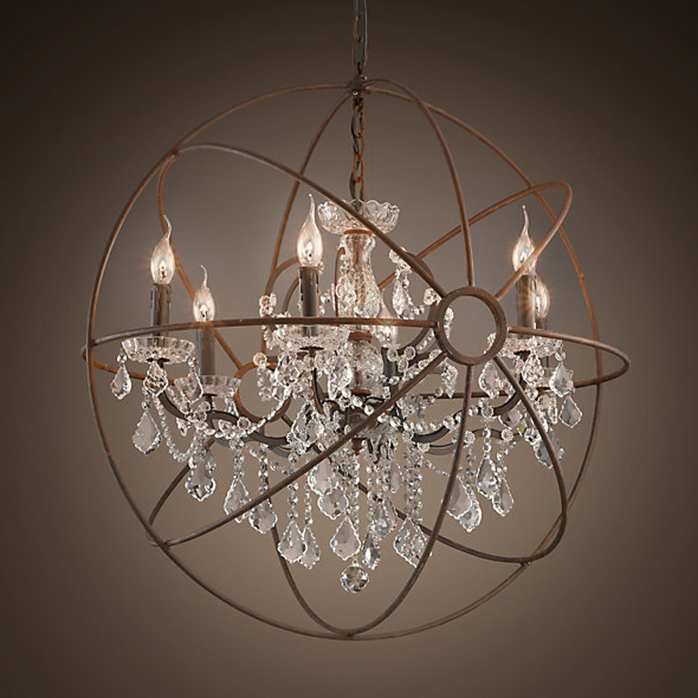 Most Current Large Globe Chandelier Pertaining To Chandeliers Design : Magnificent Rustic Orb Chandelier Crystals (View 3 of 20)