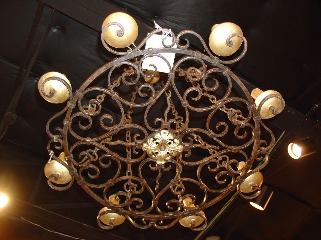 Most Current Round Cast Iron Antique Chandelier For Sale At 1stdibs In Cast Iron Antique Chandelier (View 10 of 20)