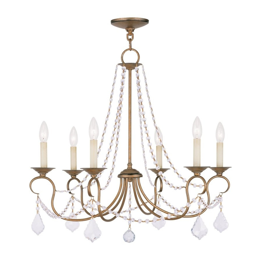 Most Current Shop Livex Lighting Pennington 28 In 6 Light Antique Gold Leaf With Gold Leaf Chandelier (View 15 of 20)