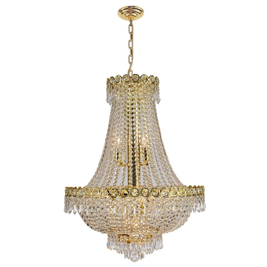 Most Current Shop Worldwide Lighting Empire 20 In 12 Light Polished Gold Crystal Inside Crystal Gold Chandelier (View 9 of 20)