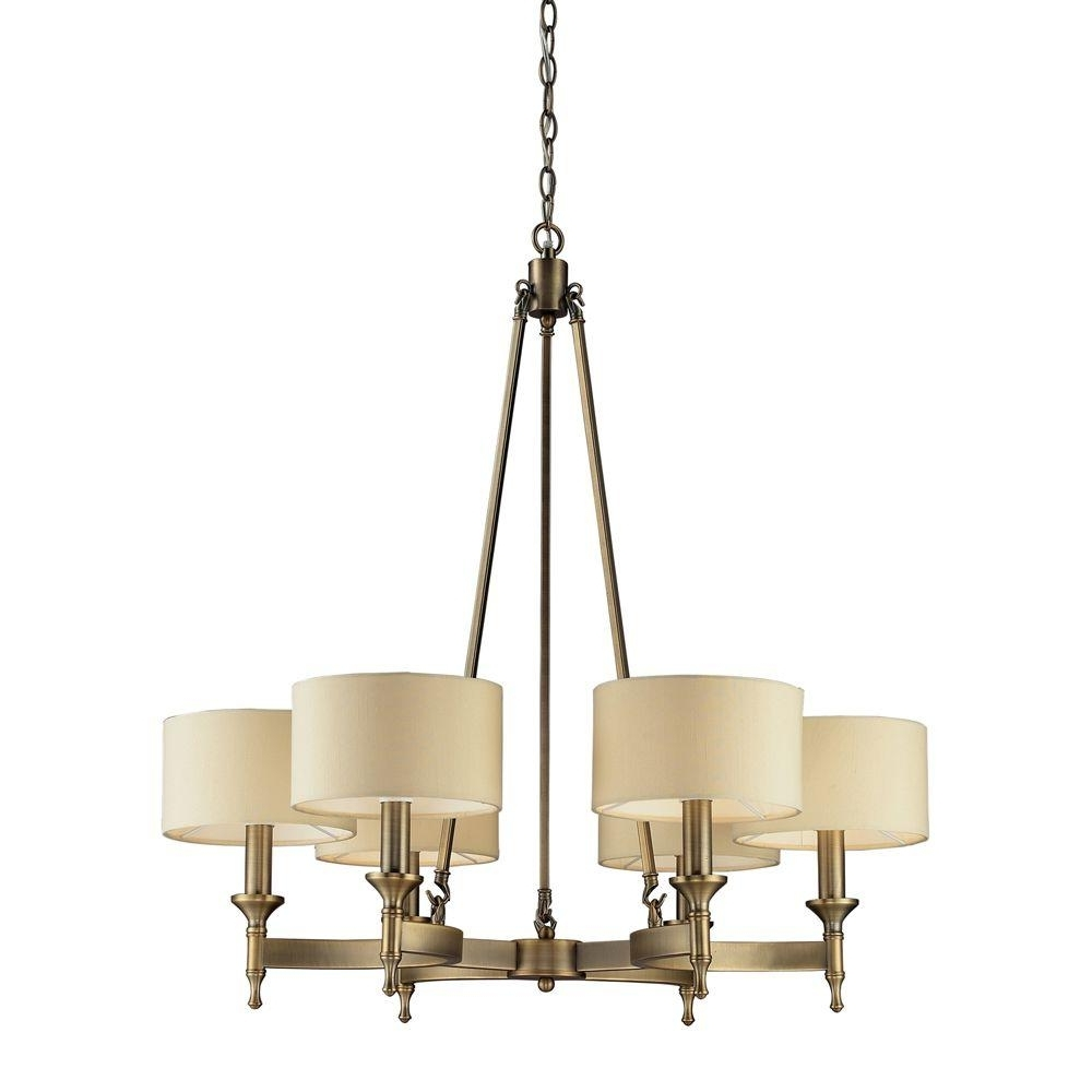 Most Current Titan Lighting Pembroke 6 Light Antique Brass Chandelier With Light Regarding Old Brass Chandeliers (View 12 of 20)