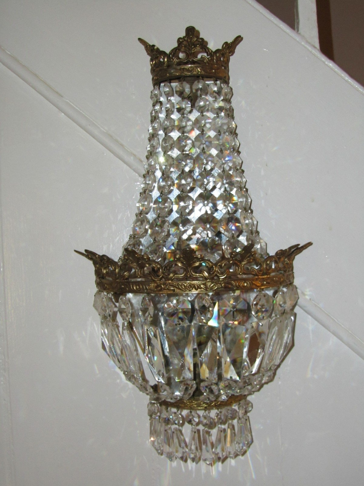 Most Popular Chandelier Wall Lights Throughout A Pair Of Crystal Mirrored Chandelier Wall Lights (View 19 of 20)