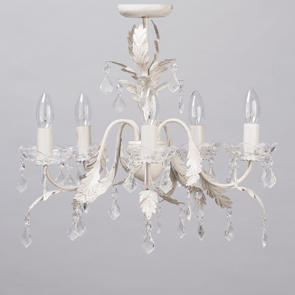 Most Popular Cream Chandelier Lights Throughout Romeo 5 Light Chandelier – Cream & Gold From Litecraft (View 12 of 20)