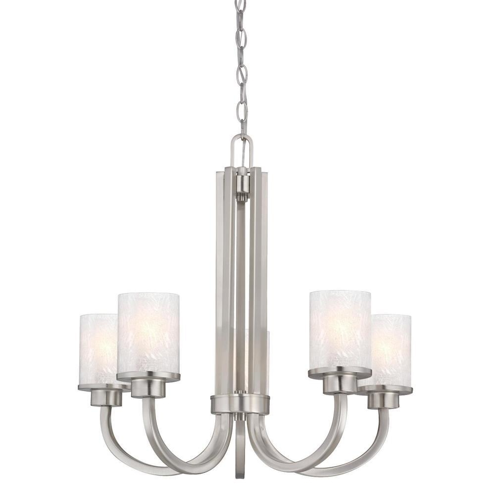 Most Popular Endon Lighting Chandeliers With Regard To Westinghouse Ramsgate 5 Light Brushed Nickel Chandelier With Ice (View 12 of 20)