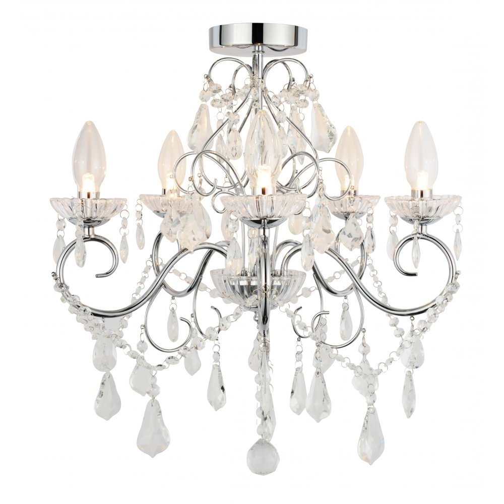 Most Popular Flush Fitting Chandeliers Pertaining To Captivating 40+ Bathroom Chandeliers Ip44 Design Decoration Of (View 6 of 20)